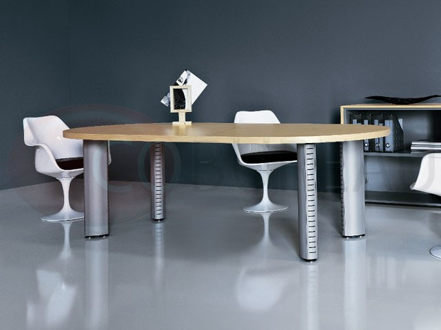 table de r union ovale tower pieds tube m tal aluminium. Black Bedroom Furniture Sets. Home Design Ideas