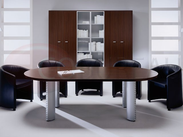 table de r union ovale tower pieds tube m tal aluminium. Black Bedroom Furniture Sets. Home Design Ideas