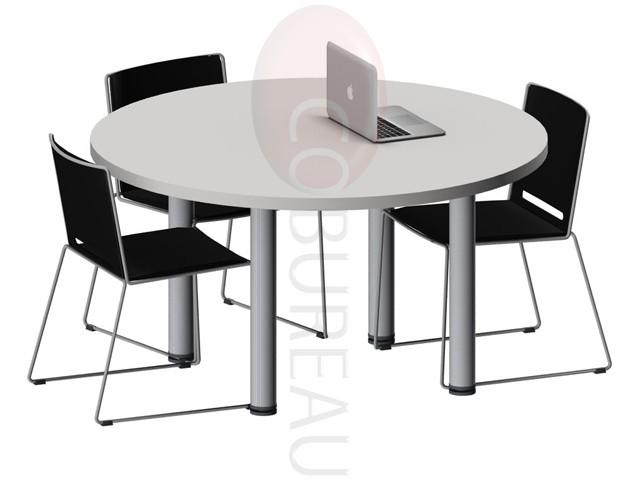 Table ronde pro m tal 120 cm pieds tube rond for Plateau de table rond 120 cm