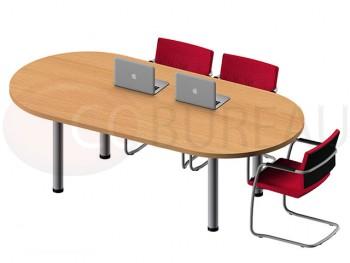 Table ovale Pro métal 200 cm - pieds tube rond