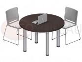 Table ronde Pro métal 100 cm - pieds tube rond plateau wengué