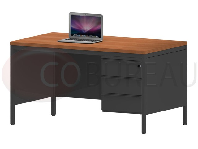 bureau demi ministre 140 cm m tal caisson 3 tiroirs. Black Bedroom Furniture Sets. Home Design Ideas