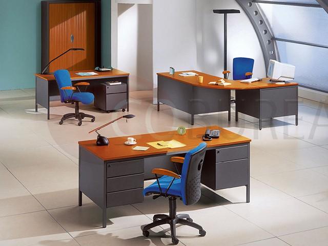 Bureau demi ministre 140 cm m tal caisson 3 tiroirs for Bureau ministre