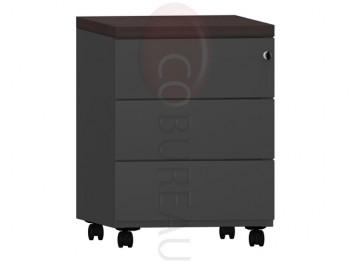 Caisson mobile 3 tiroirs Pro métal noir