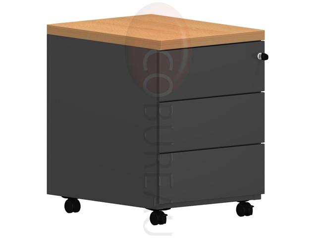 Caisson mobile 3 tiroirs pro m tal noir - Caisson bureau metal ...