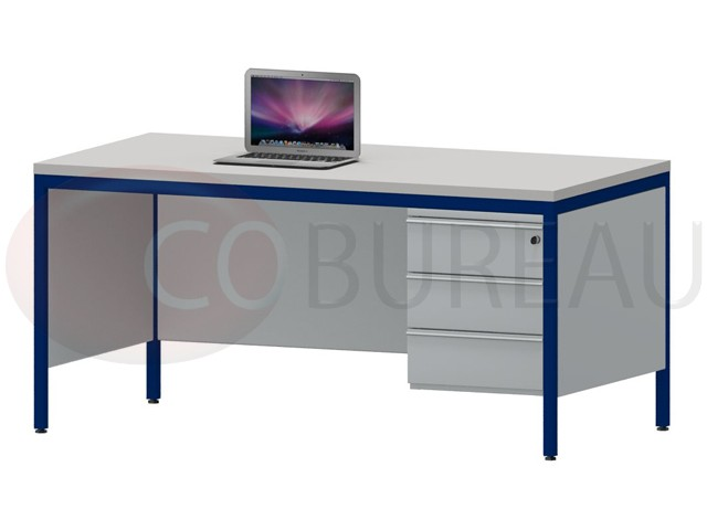 bureau demi ministre 160 cm m tal avec caisson 3 tiroirs. Black Bedroom Furniture Sets. Home Design Ideas