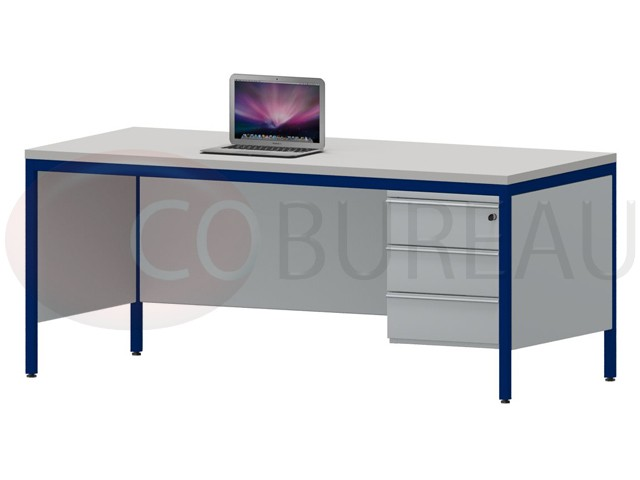 bureau demi ministre 180 cm m tal 3 tiroirs. Black Bedroom Furniture Sets. Home Design Ideas