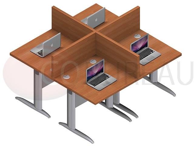 Marguerite 4 postes identiques en largeur 80 cm plateaux for Bureau marguerite 4 personnes
