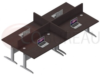 Ensemble 4 postes droit 160 Cm Pro métal