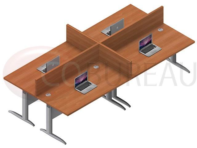 Ensemble 4 postes droit identiques en largeur 160 cm for Mobilier bureau 4 postes