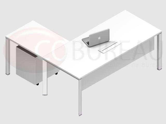 Extrêmement Ensemble bureau direction rectangulaire, piétement métallique  HQ79