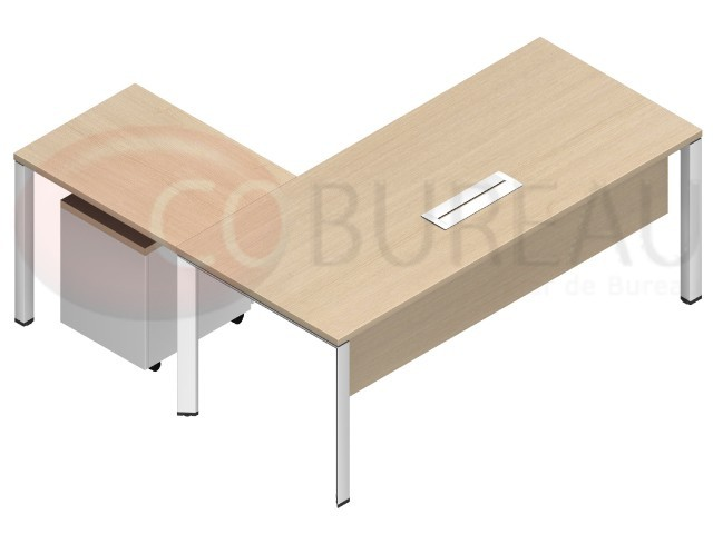 bureau avec retour arko 180 cm pieds m tal arche. Black Bedroom Furniture Sets. Home Design Ideas