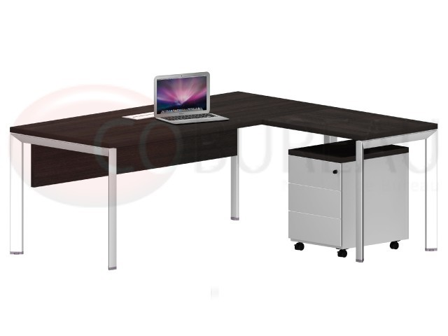 bureau avec retour arko 180 cm pieds m tal arche. Black Bedroom Furniture Sets. Home Design Ideas