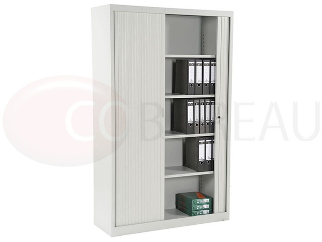 armoire m tallique a rideaux l 120 x h 200 cm corps blanc rideaux blanc. Black Bedroom Furniture Sets. Home Design Ideas