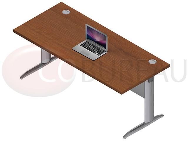 Bureau droit pro m tal 180 cm pieds en forme i for Bureau 180 cm
