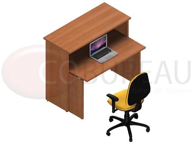 Comptoir d 39 accueil droite kamos h 109 x l 125 x p 85 cm for Bureau 85 cm