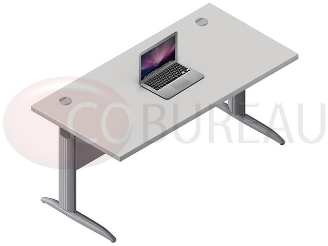 bureau droit pro m tal 160 cm pieds en l. Black Bedroom Furniture Sets. Home Design Ideas