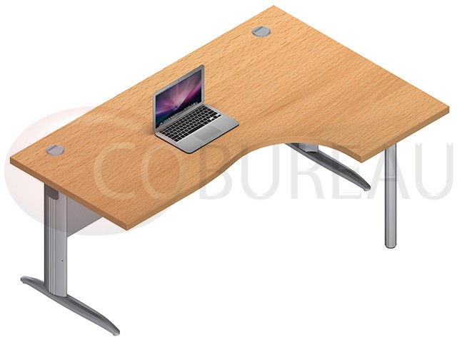 bureau plateau compact 180 cm pro m tal pieds en l