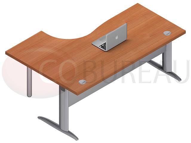 Bureau plateau compact 180 cm pro métal pieds en l