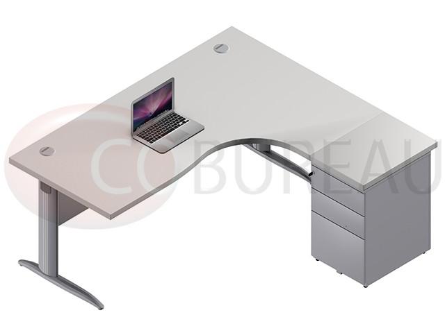 Bureau compact cm pro métal avec caisson métallique hauteur