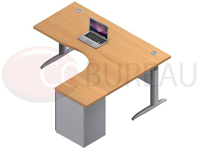 bureau compact 180 cm pro m tal avec caisson m tallique hauteur bureau pieds en l. Black Bedroom Furniture Sets. Home Design Ideas