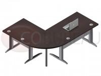 Ensemble bureau 120 Pro métal angle de liaison 90° - retour droit 80 cm