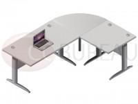 Ensemble bureau 140 cm Pro métal avec angle de liaison 90° - retour droit 80 cm