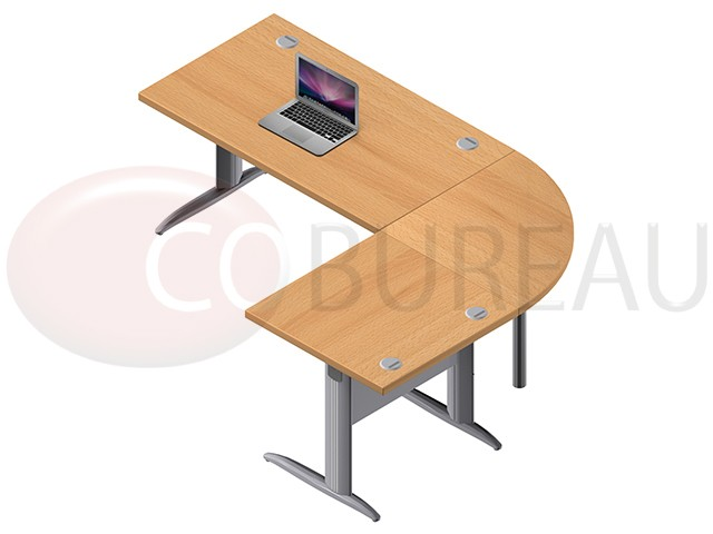 ensemble bureau 140 cm pro m tal avec angle de liaison 90 retour droit 80 cm. Black Bedroom Furniture Sets. Home Design Ideas