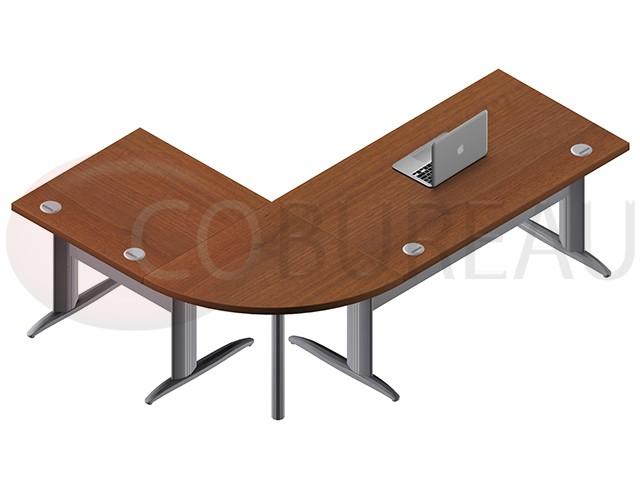 ensemble bureau 140 cm pro m tal avec angle de liaison 90. Black Bedroom Furniture Sets. Home Design Ideas