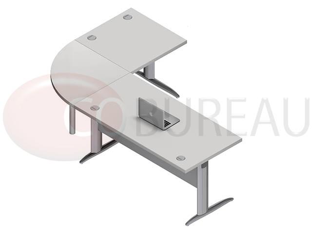 Ensemble bureau 160 cm pro m tal avec angle de liaison 90 for Bureau 160 cm