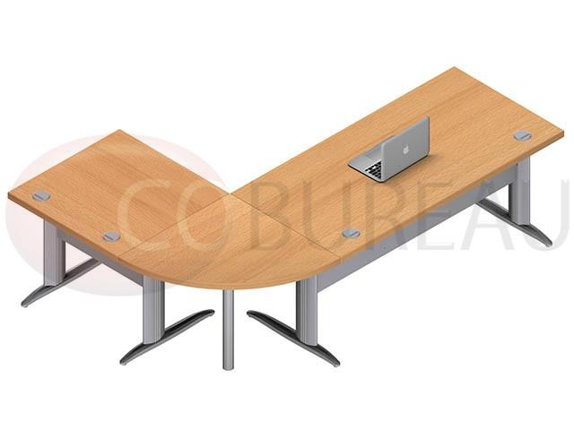 Ensemble bureau 160 cm Pro mtal avec angle de liaison 90