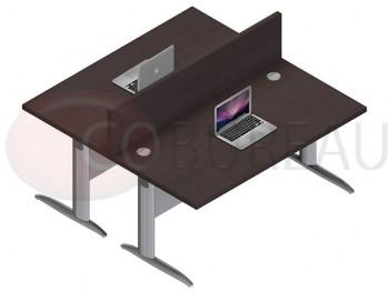 Ensemble 2 bureaux droit 160 Cm Pro métal