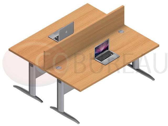 Ensemble 2 bureaux droit 180 cm pro m tal for Mobilier bureau 91