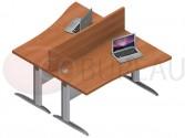 Ensemble 2 bureaux vague 140 Cm Pro métal