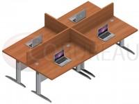 Ensemble 4 bureaux droit 120 Cm Pro métal