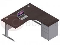 Bureau compact 160 cm Pro métal avec caisson hauteur bureau