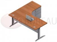 Bureau compact 180 cm Pro métal avec caisson hauteur bureau