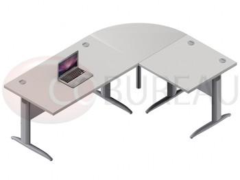 Ensemble bureau cadre 140 cm Pro métal
