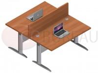 Ensemble 2 bureaux doit 140 Cm Pro métal