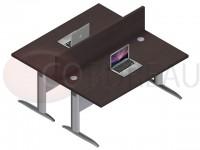 Ensemble 2 bureaux doit 160 Cm Pro métal Wengué