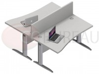 Ensemble 2 postes vague 160 Cm Pro métal plateau gris